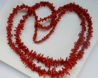 Red bamboo coral  branch stick beads (5--13), draduating beads