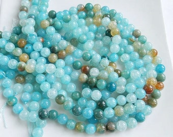 "8mm  Aqua Blue vein agate, smooth  round beads FULL STRAND (15.5"")"