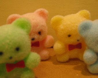 4 Vintage Miniature Flocked Teddy Bears