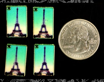 Gold Eiffel Tower Postcard Charms Set of 4   *ZG-C20