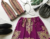 Festival Outfit Matching set purple paisley boho print bralette bralet halter crop top and high waist swing skirt