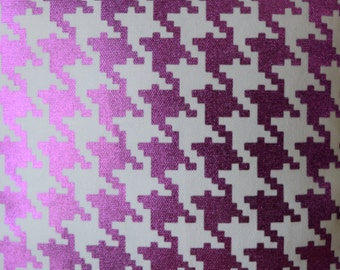 Metallic Magenta Houndstooth fabric by the yard