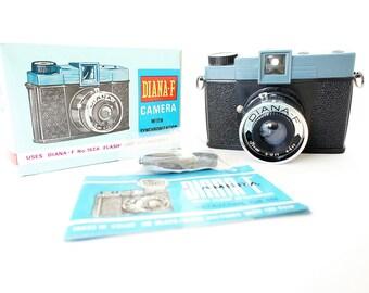 Working Vintage Diana-F Plastic Lomo Camera w/ Original Box and Manual - Film Tested