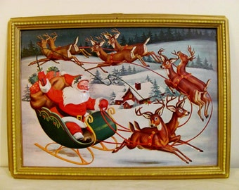 RARE thin plastic Santa Claus on Sleigh framed illustration - 8 reindeer - bubbled out - 1950's - Vintage