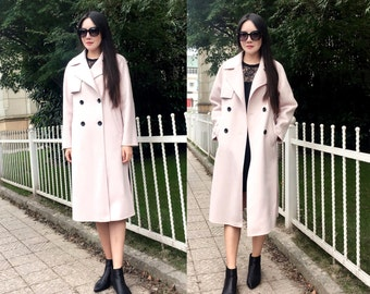 Lovely Double-breasted Winter Coat/ Double-Faced/ Sided Cashmere and Wool Blend Long Jacket/Elegant /18 Colors / RAMIES