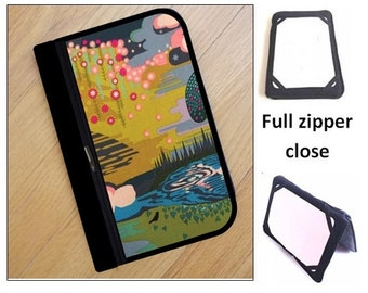 personalized HARD case - ipad case/ kindle case/ nook case/ others - full zipper close - landscape