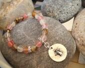 Pink Tiger Quartz Rhinestone Angel Charm Stretch Bracelet