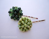 Vintage earrings hair clips - Emerald and jade green crystals, pearls, and seed beads cluster beaded embellish hair accessories