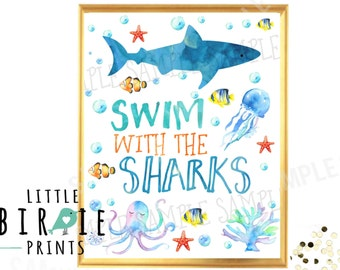 SHARK Party sign Mermaid and Shark Birthday party Swim with the Sharks Sign Birthday party sign Under the Sea Pool Party