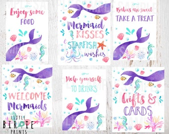 MERMAID BABY SHOWER Signs Mermaid Kisses And Starfish Wishes   Mermaid Baby  Shower Decorations Signs Mermaid
