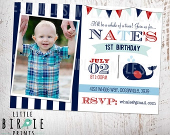 Whale Invitation Whale first birthday invitation Nautical first birthday invitation - Whale 1st Birthday Party Invitation Whale 1st Birthday