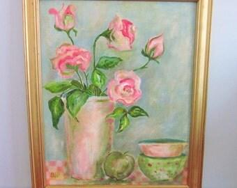 Roses Oil Painting, Vintage Original Art, Cottage Chic, Shabby Chic, Still-Life