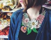 Wildflower necklace - Australiana - vintage linen - wearable art - native flowers