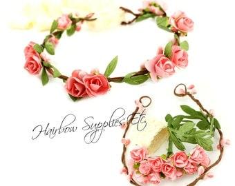 DIY Pink Floral Crown Kit with Leaf Trim -  DIY Flower Crown, Wedding Flower Crown, Floral Halo, Bridal Crown, Newborn Halo, Wedding Halo