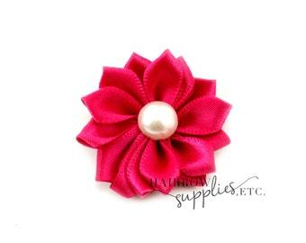Fuchsia Dainty Star Flowers with Pearl 1-1/2 inch - Fuchsia Fabric Flowers, Fuchsia Silk Flowers, Hot Pink Hair Flowers, Hot Pink Flowers
