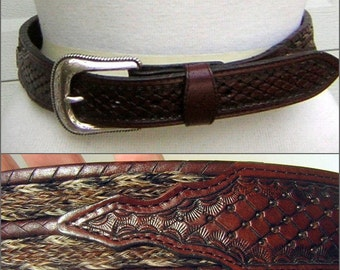 Vintage Belt Woven Horse Hair Inlay with Whip Lace Channel & Edges Tooled Leather and Tooled Buckle - MINT Size 30