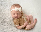 newborn girl lace romper with short sleeves (Adeline) - photography prop - tan, cream, gold, lace, floral, bow
