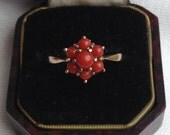 RESERVED for Selina Vintage 9ct Gold Coral Flower Ring - Summer