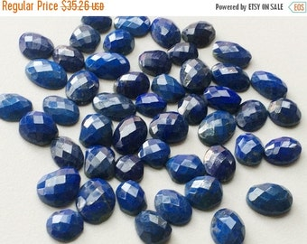 55% ON SALE Lapis Lazuli Cabochons, Lapis Lazuli Flat Back Rose Cut, Faceted Rose Cut Gemstones 10mm To 17mm, 5 Pieces
