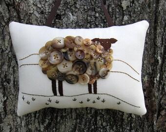 Irish Sheep Pillow, Primitive Ireland Sheep Hand Embroidery, Vintage Buttons, Unique Brown Black Sheep, Original Design, fall lamb, HAFAIR