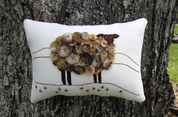 Irish Sheep Pillow, Primitive Ireland Sheep Hand Embroidery, Vintage Buttons, Unique Brown Black Sheep, Original Design, spring lamb, HAFAIR