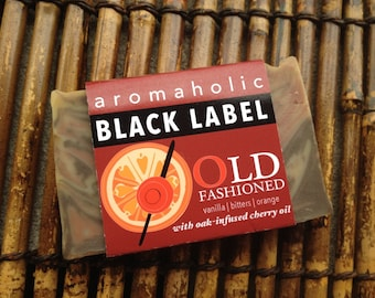 Old-Fashioned cocktail soap - whiskey-inspired soap - vanilla, orange & bitters soap with oak-infused cherry oil - - organic handmade soap