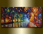 Modern Landscape Painting Oil on Canvas Rainy Night Textured Palette Knife Original Art 20X40 by Willson Lau