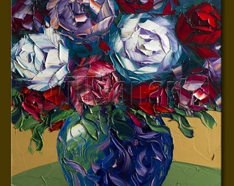 Floral Canvas Modern Flower Oil Painting Roses Textured Palette Knife Original Art 16X16 by Willson Lau