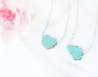 NEW - Turquoise on a Beads Swing - Gemstone Necklace - OOAK Unique Shapes Collection - Semi Precious - Ready to Ship - Gift for Her