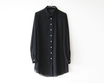 Vintage Sheer Black Button Up Collared Shirt Dress / Blouse - Golden Contrast Buttons