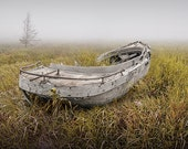 Abandoned Wood Boat Wreck in the Grass on a Foggy Michigan Morning No.17382 a Fine Art Nautical Seascape Photograph