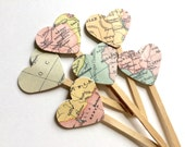 Map Cupcake Topper, Heart Map Cupcake Topper, Map Party Picks, Bridal Shower Cupcake Topper, Travel Theme Cupcake Topper, Map Paper Decor
