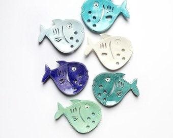 Baby Blue fish Ceramic Soap Dish - Fish Soap Dish for Beach Bath - Fish Bath Soap Dish - Primitive Soap Dish -  Ocean Soap Dish - Fish Decor