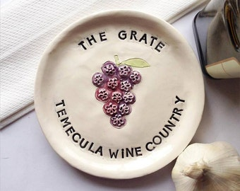 Ceramic Garlic Plate - Grater Plate - Unique Garlic Plate - Home Chef Gift -  Foodie Gift - Temecula Winery - Temecula Gift - Gift for Chef