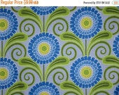 ON SALE Dramatic Blue with Green Stylized Floral Print Pure Cotton Fabric--One Yard