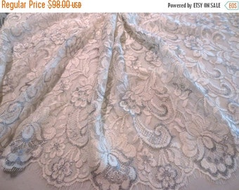 ON SALE Ivory and Metallic Silver Floral Design French Chantilly Lace Fabric--One Yard