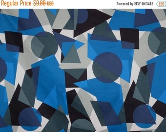 ON SALE SPECIAL--Blue with Black and Gray Geometric Print Stretch Cotton Sateen Fabric--One Yard