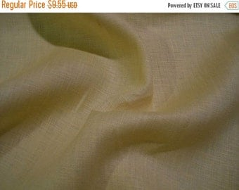 ON SALE REMNANT--Butter Yellow Pure Linen Shirting Fabric--1&2/3  Yard