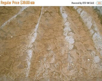 ON SALE REMNANT--Ivory French Alencon Lace Fabric with Pearls and Sequins--24 Inches