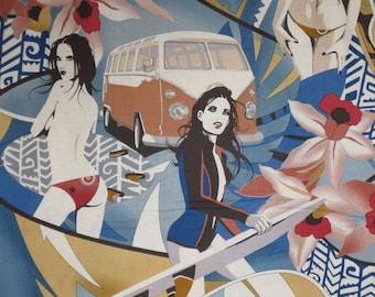 Blue  and Rose Surfer Girls Maverick Print Pure Cotton Fabric--One Yard
