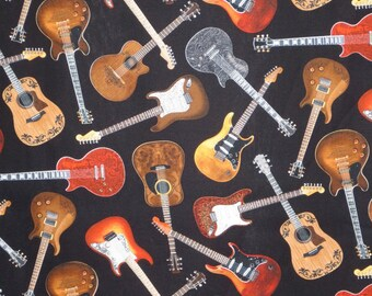 Allover Guitar Print on Black Pure Cotton Fabric--One Yard