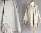 Vintage 1970s Boho Wool Poncho with Fringe and Scarf/ 70s Beige Wool Poncho