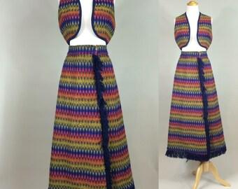 60s Boho Hippie Skirt and Vest Set / 1960s Flame Print Woven Knit Skirt and Vest Set / Vintage Boho Hippie Skirt with Fringe / Vintage Boho