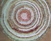 "Round Crocheted Rag Rug ~ 32"" round rug ~ Primitive Rag Rug ~ Cabin rag rug ~ Hand Crocheted Rag Rug ~ round rug ~ Fall Rag Rug"