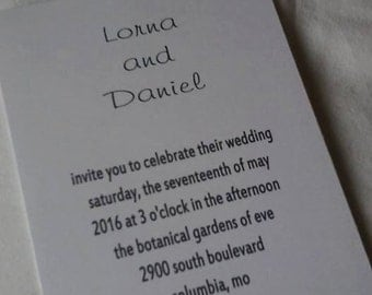 50 Wedding Invitations  simple names with matching white envelopes