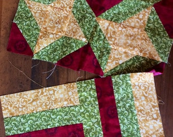 Handmade Vintage Quilt Squares - vintage fabric, retro fabric, friendship star quilt, rail fence quilt, red and green quilt, quilting fabric