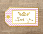 Pink and Gold Printable Thank You Tags, Pink Chevron Gold Princess Crown Favor Tags, Printable Tags, INSTANT DOWNLOAD