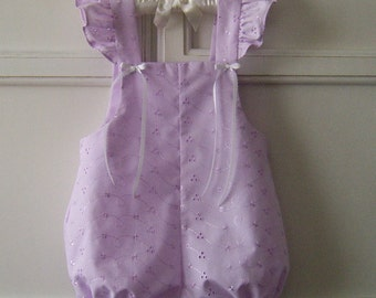 Purple Ruffled Eyelet Baby Sunsuit size 18 mo. Summer Baby Girl Bubble Romper, Shortall, Vintage Style