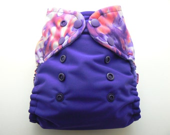 One Size Cloth Diaper - Purple Circles with Dark Purple PUL and White Microfleece