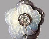 MOP (30441) Handcarved Mother of Pearl Flower - Flat Back